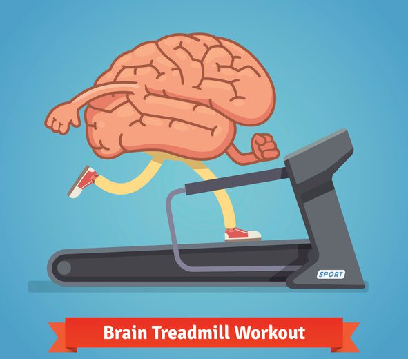 Brain working out on a treadmill. Education concept. Flat style vector illustration isolated on blue background.